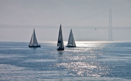 Hazy Sail - water, golden gate, shimmer, shine, beautiful
