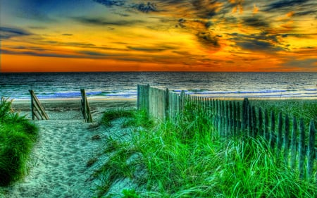The Way To The Beach - colorful, grass, ocean, peaceful, path, waves, magic, sea, way, sunrise, sunset, sky, colors, splendor, summer, sand, nature, beauty, beautiful, lovely, clouds, green, beach, view, fence