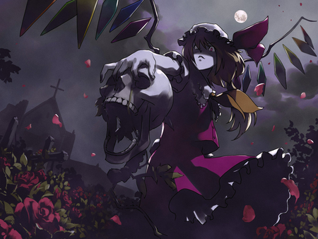 Flan - moon, wings, roses, church, flandre scarlet, skull, hat