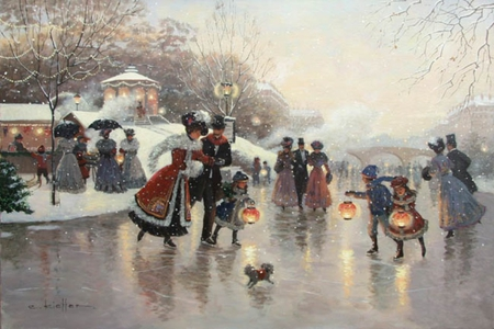 Skating - painting  by Christa Kieffer - children, joy, painting, artist, nature, evening, winter, city, high society, lights, art, elegance, skating, people