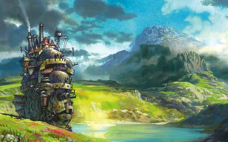 Howls Moving Castle - scenic, ghibli, howls moving castle, clouds, anime, studio ghibli, castle, field, miyazaki