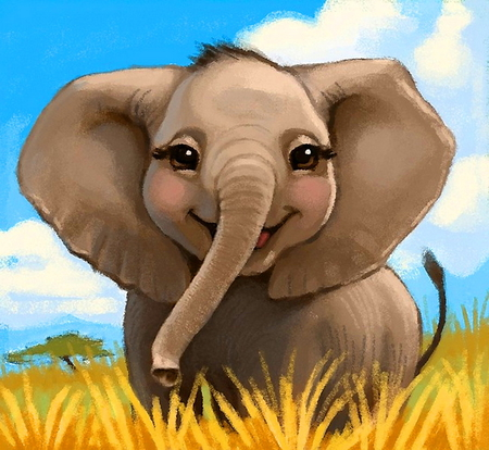 HAVE A HAPPY DAY - gold, green, elephant, painting, smile, blue sky, baby