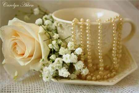 Tea-colored - beauty, rose, pleasant, flowers, pearls, tea-colored, refined, tea cup, elegant, beautiful