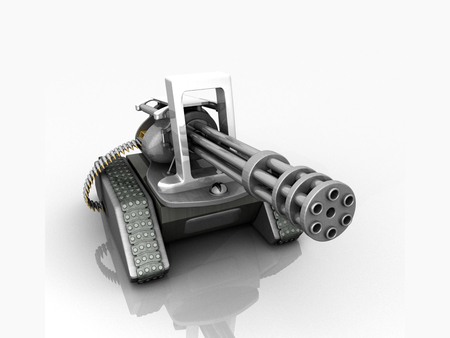 Abstract Six-Barreled Machine Gun Tank - six-barrel, ammunition, wepon, tank, machine gun, abstract, 3d