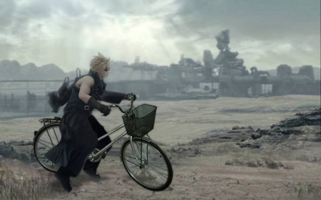 Cloud and his 'bike' - fenrir, final fantasy 7, blond haired, bicycle, man, advent children, cloud strife, wasteland, midgar, funny