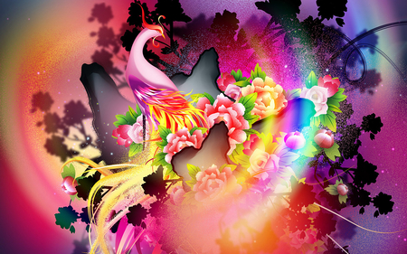 Colorful Phoenix - fantasy, phoenix, colors, abstract, other