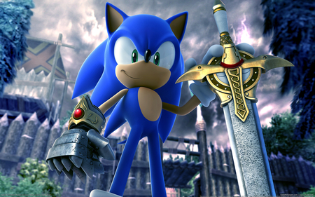 sonic - video game, sonic, sword, blue
