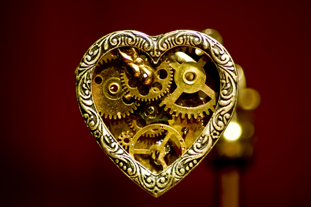 Mechanical Love - heart, pendant, love, steam, mechanical, gears, steampunk, punk