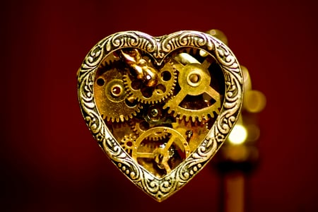 Mechanical Love - steam, pendant, punk, mechanical, gears, steampunk, heart, love
