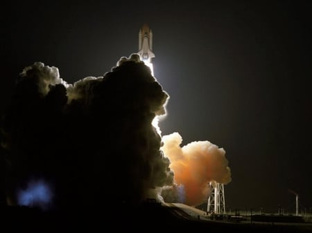 To the space - shuttle, beautiful, night, space