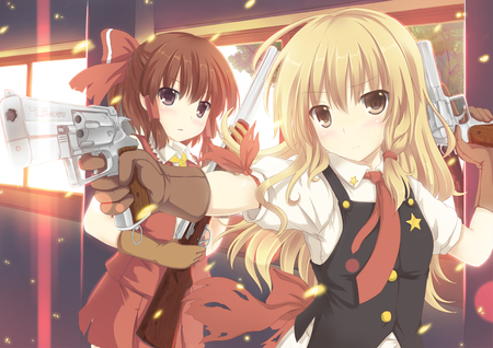 Lock n Load - badass, dress, hakurei reimu, anime girls, beautiful, bow, gun, touhou, hot, beauty, weapon, wicked, brown hair, blonde hair, sexy, brown eyes, tagme, cute, cool, awesome