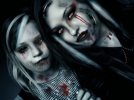 future family(halloween deliquents) - cold, gothic, people, gothic wallpaper, blue, photo manupulation, idea, dead, fun, strange, blood, 3d, halloween wallpaper, futuristickly gothique, new, weird people, 2011, family wallpaper, eyes