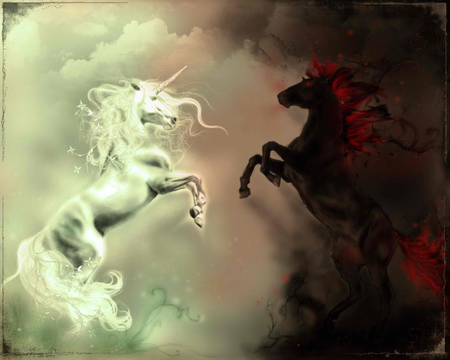 White And Black Unicorn Other Animals Background Wallpapers On