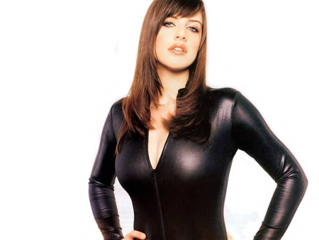 Michelle Ryan in a Black Leather Catsuit - glamour, female, fame, model