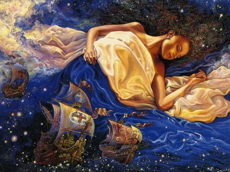 Astral Voyage - ships, sleep, woman, sleeping, josephine wall, boats, fantasy, voyage, astral