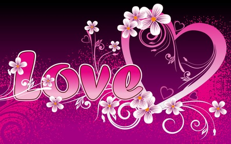 Love - pink, heart, love, flowers, widescreen, valentines day