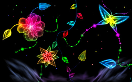 Neon Glow Neon Butterfly Wallpaper
