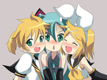 rin, len and miku - hey!? need space to breath here!