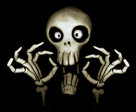 SCARY SKULL - skull, bones, white, spooky, scary, black