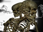 TWO HEADED SMOKING SKELETON
