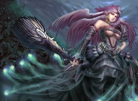 Fantasy Angel - wings, armor, fantasy, woman, original, fantasy angel, fantasy warrior, weapon