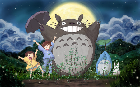 Totoro growing plants - totoro, big fluffy thing, acorn tree, neighbor