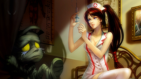 Amumu & Akali - hat, mummy, nurse, akali, amumu, doctor, girl, ponytail, league of legends