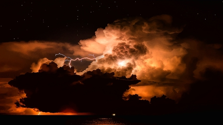 Explosive Sky - forceful, billowing, intense, beautiful, flash, sky, clouds, fierce, electrical, night