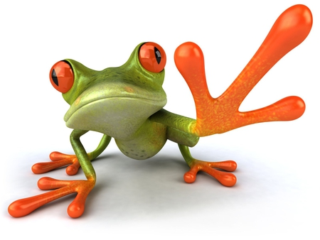 crazy green frog - gaint, orange, green, frog