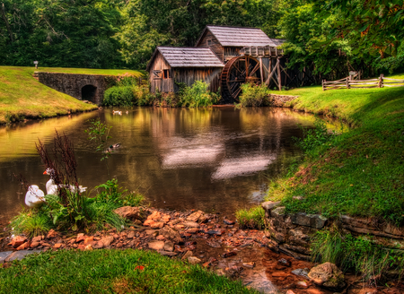 Watermill-HDR - architecture, pretty, house, grass, ducks, outdoors, geese, nice, watermill, stones, beauty, tunnel, reflection, rivers, lovely, birds, trees, water, cool, great, landscape, fence, scenic, mill, beautiful, old, photography, green, fields, river, wheel, scenery, animals, forest, amazing, lakes, view, colors, spring, lake, pond, plants, hdr, nature, reflected