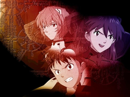 The 3 childrens - shinji, rei, anime, asuka, enangelion