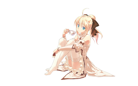 Saber Lily - original, cute girl, saber lily, armor, fate stay night, fantasy, anime, blue eyes, anime warrior