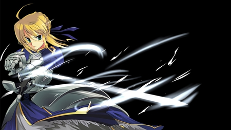 Saber - saber, original, blonde hair, armor, fate stay night, anime, anime warrior, sword, knight