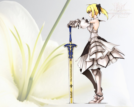 Saber Lily - original, saber lily, armor, fate stay night, fantasy, girl, anime, anime warrior, sword, knight