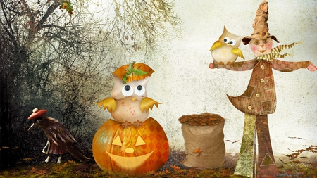 Scarecrow and Owls Halloween - fall, autumn, halloween, jack-0o-lantern, firefox persona, scarecrow, owls, leaves, crow, whimiscal