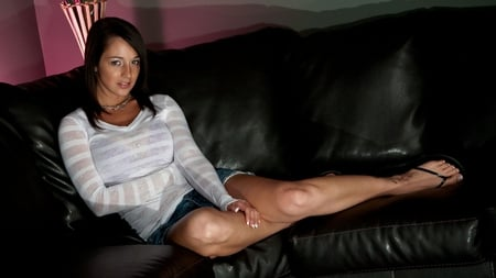Nikki Sims - sensual, nikki sims, perfect, beautiful, woman, sweet, sweater, blue jean shorts, shorts, hot, beauty, casual, gorgeous, legs, model, smile, sexy, brown eyes, cute, brunette, body, photoshop