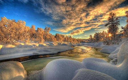 Winterscape - beauty, cold, snow, colorful, sky, white