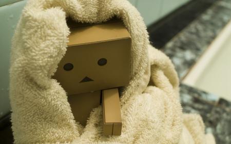 Danbo in Towel - danbo, robot, box, towel