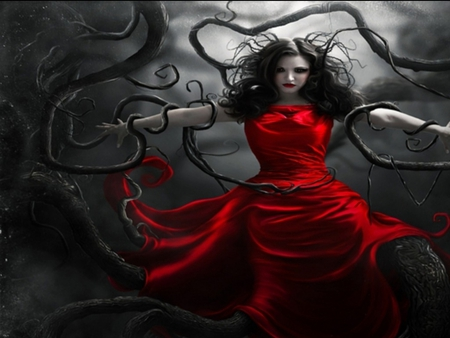 breaking free - red dress, gothic, trees, woman