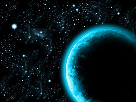 BLUE PLANET - stars, sky, blue, planet, space