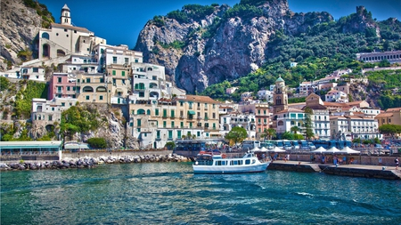 amalfi salerno in italy - architecture, buildings, travel, italia, photography, city, water, beauty, manmade, structures, italy, blue