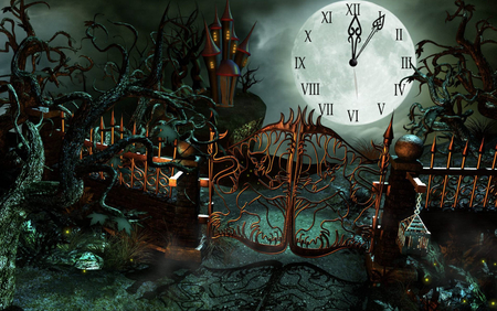 Halloween Castle Clock - fantasy, holiday, halloween, 3d and cg, abstract