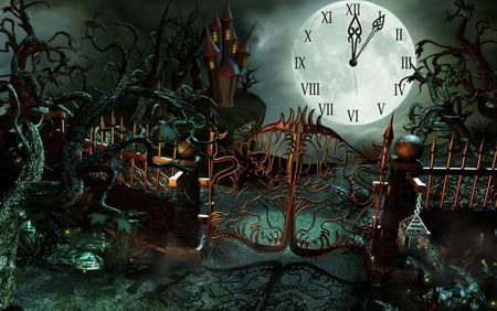 Halloween Castle Clock - 3d and cg, holiday, abstract, fantasy, halloween