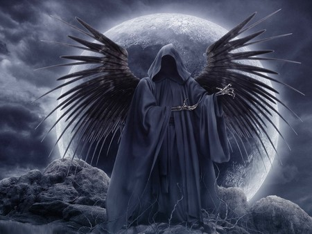 Gothic Angel - reaper, fantasy, moon, dark, gothic, angel