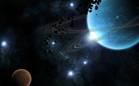 The Blue Planet !!! - 3d-art, widescreen, blue, sky, wds, abstract, star, planet, black