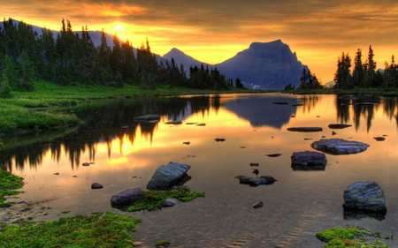 Sunrise and dusk - sunrise, hills, sunset, lake, perfect, trees, nature, day, sun, forest, beautiful, reflection, mountain