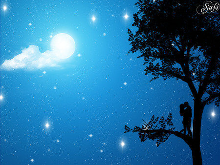 Romantic night - stars, tree, moon, people, love, sky, night