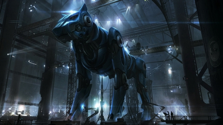 Giant Robotic Dog - machine, robot, building, abstract, dog