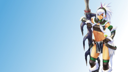 Monster Hunter - fantasy warrior, female, original, video game, tagme, monster hunter, armor, anime warrior, long hair, sword