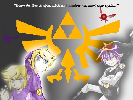 Light and Shadow will meet again someday... - faries, four swords, zelda, vio, shadow, video games, manga